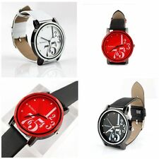 Fashion Classic Leather Band Girl Women Colorful Dial Analog Quartz Wrist Watch