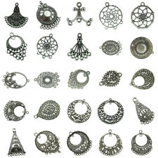 2pcs Antique Silver Alloy Filigree Crafts for Making Earrings Jewelry Findings