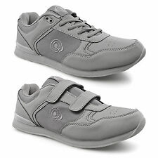 Mens New Touch Fastening Lace Up Bowls Bowling Shoes Trainers Grey 6 7 8 9 10 11