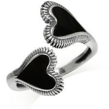 Black Onyx 925 Sterling Silver Bypass Heart Adjustable Ring