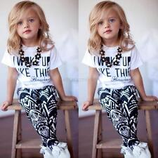 Kids Baby Girls Summer Outfit Clothes T-shirt Tops+Long Pants Trousers 2PCS Set