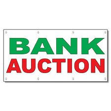 Bank Auction Green Red 13 Oz Vinyl Banner Sign With Grommets