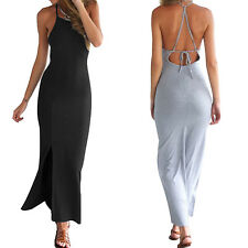 Women Sexy Summer Spaghetti Strap Cross Bandage Backless Long Maxi Split Dress