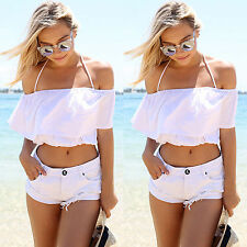 Women Sexy Off The Shoulder Ruffled T-shirt Crop Tops Ladies Boho Strappy Blouse