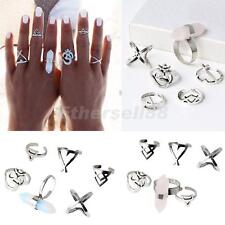 Fashion 6pcs Alloy Multicolor Finger Rings Midi Knuckle Rings Women Girl Jewelry
