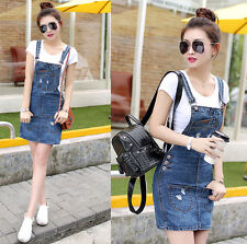 2016 Womens Casual Denim Skirt Suspender Skater Overall Jumper Jean Strap Dress
