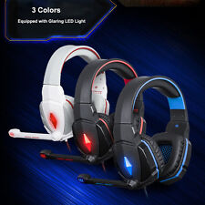 Gaming Headset Surround Stereo Headband Headphone USB 3.5mm LED With Mic For PC