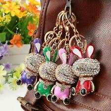 Lovely Rhinestone Crystal Rabbit Bunny Charm Pendant Car Key Chain Keyring V6P3