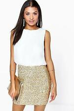 Boohoo Womens Delia 2 in 1 Chiffon Top Sequin Skirt Bodycon Dress