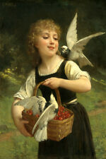 LITTLE GIRL WITH BIRDS AND BASKET OF CHERRIES PAINTING BY EMILE VERNON REPRO