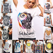 Ladies Summer Punk Hip-hop Printed Casual T-shirts Short  Sleeve Tops Blouses