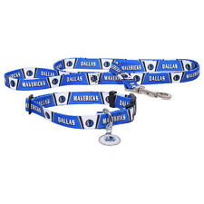 NEW DALLAS MAVERICKS PET SET DOG COLLAR LEASH ID TAG ALL SIZES LICENSED