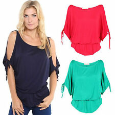 Sexy Ladies Womens Boho Oversized Cold Shoulder Tee T-shirt Tops Casual Blouses