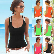 New Women Casual Shirt Tops Shiny Beads Pure Color Crew Neck Sleeveless Blouses