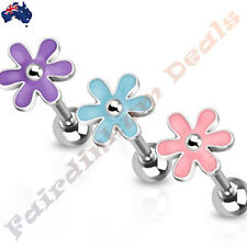Cute Epoxy Flower Top 316L Surgical Steel Barbell Tongue Ring