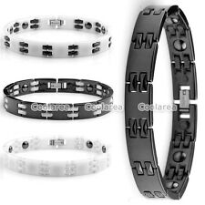 Men Link Bracelet Stainless Steel Ceramic Magnetic Therapy Elements Health Wrist