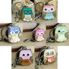 Fashion Bronze Owl Charm Pendant Lobster Clasps Purse Bag Keyring Key Ring Chain