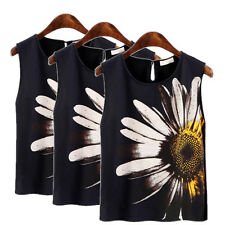 Elegant Women Summer Floral Printed Sleeveless Tank Vests Casual Tops T-Shirts