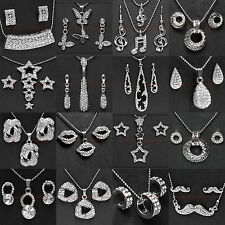 BSETM0029 MANY STYLES SILVER PLATED RHINESTONE PENDANT NECKLACE EARRINGS SET