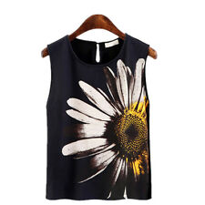 Women's New Flower Print Black Sleeveless Dress Tank Vests Chiffon Tops T-Shirts