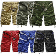 New Men Cargo Shorts Camo Combat Trousers Army Military Casual Solid Short Pants