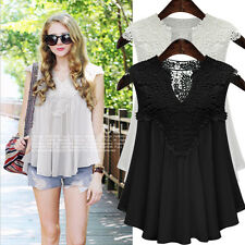 Summer Womens Vest Top Sleeveless Blouse Casual Lace Chiffon Tank Tops T-Shirt