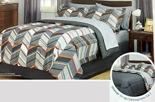 New Chevron Reversible 8 PC Comforter Set with Sheets, Bedshirt & Shams