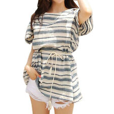 Women Short Sleeves Cut Out Shoulder Stripes Belted Tunic Dress