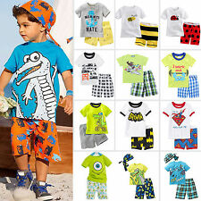 Baby Boys Cartoon Suits Summer Short Sleeve T-shirt +Pants Outfit Clothing Set
