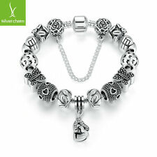 European Sparkling Butterfly Silver Charm Bracelet with Love Heart Charm Jewelry