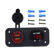 12V 2.1A Dual USB LED Fast Car Charger Flush Mount Socket Volt DC Marine Carvan