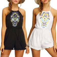 Fashion Sexy Women Crochet Boho Sleeveless Party Cocktail Summer Beach Rompers