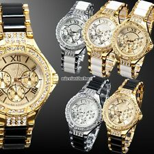 Crystal Lady Women Analog Bracelet Gold Silver Dial Quartz Wrist Watch Gift