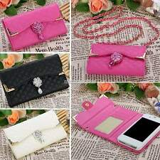 Bling Diamond PU Leather Flip Wallet Card Holder Handbag Case Cover For iPhone G