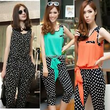 Stylish Lady Slim Polka Dot Vest Harem Pants One-pieces Jumpsuit Romper N98B