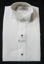 New White Mens Small Wing Collar Tuxedo Shirt Butterfly Tip Mason Wedding Prom