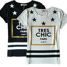 Womens Casual Paris T-shirt Star Letter Print Short Sleeve Loose Shirts Tops Tee