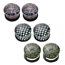 Glass Saddle Plugs Set Hypnotic Swirl 10mm (6 Pieces) Double Flared Ear Gauges