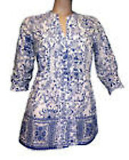Women's Blouse Shirt 3/4 Sleeve Tunic Top T-Shirt patterned blue white 085020