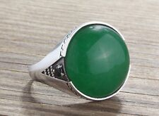 925 K Sterling Silver Mens Ring Green Jade and Black Onyx Natural Gemstones