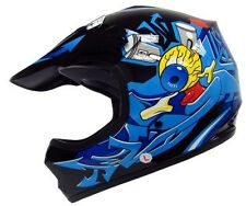Youth Black/Blue Punk Dirt Bike ATV Motocross Off-Road MX DOT Helmet ~S,M,L
