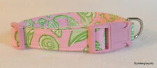 Lilly Pulitzer Mini Sea Shell Print Fabric Handcrafted Dog Collar -Made USA- New