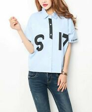 New Womens Ladies Letters Print Cotton Short Sleeve Button Down Shirt Blouse Top