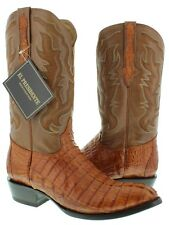 Mens Genuine Cognac Brown Crocodile Tail Leather Western Cowboy Boots Round