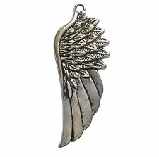 1 x LARGE SILVER COLOUR ANGEL WING PENDANT CHARM 58mm x 23mm