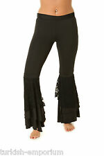 Belly Dance Tribal Harem Pants with Lace Latin Leggings Yoga Trousers Bottoms