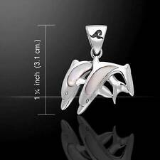 Silver and Paua Shell Twin Dolphin Pendant TDP584