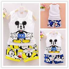 2Pcs Toddler Baby Boys Mickey Sleeveless Tops+shorts Summer Kids Casual Clothes