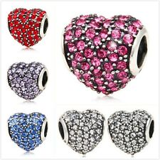 NEW 925 Sterling Silver Crystal Pave Heart European Bracelet Charm Bead