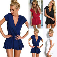 Hot Sexy Women Summer Solid Color V Neck Evening Party Cocktail Short Mini Dress